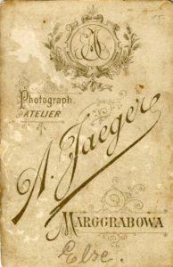 Karta gabinetowa z atelier Augusta Jaegera.