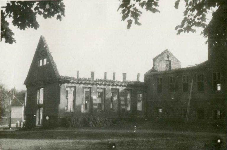 Zniszczenia wojenne w Olecku.