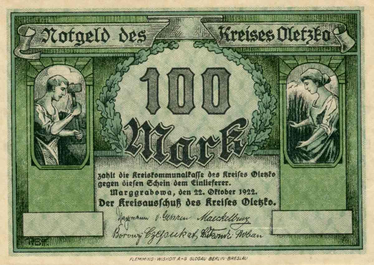 Awers banknotu o nominale 100 marek. Ze zbiorów Zdzisława Bereśniewicza.