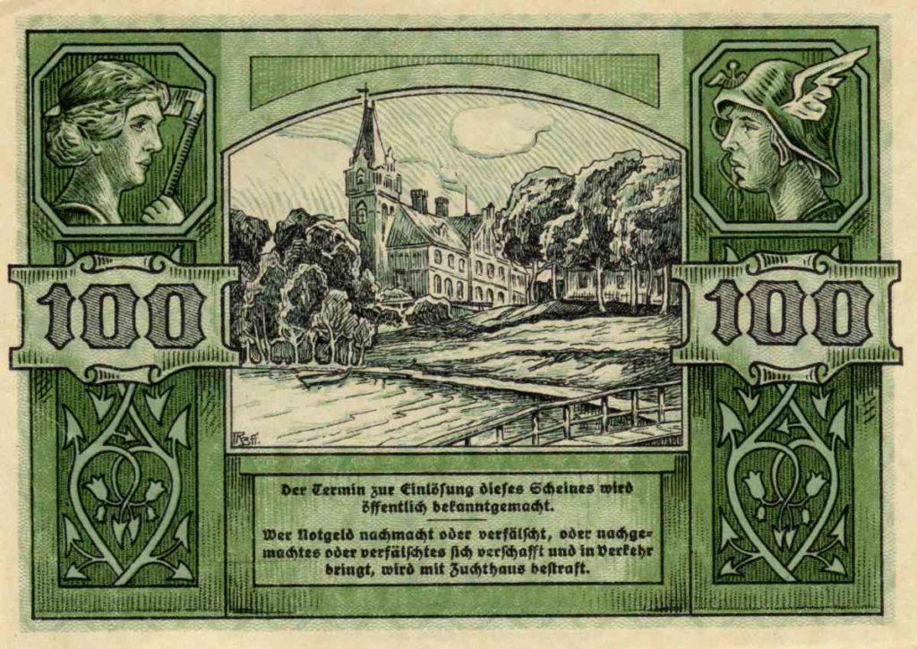 Rewers banknotu o nominale 100 marek. Ze zbiorów Zdzisława Bereśniewicza.