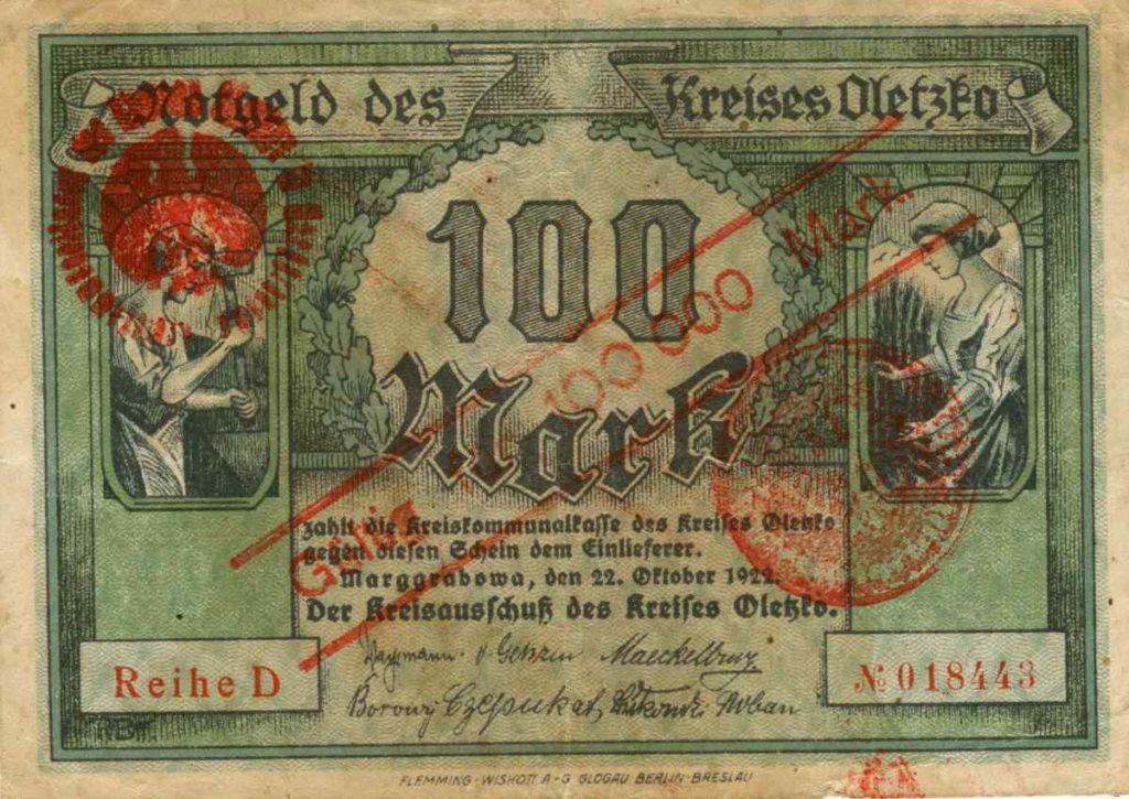 Awers banknotu o nominale 100 000 marek. Ze zbiorów Zdzisława Bereśniewicza.