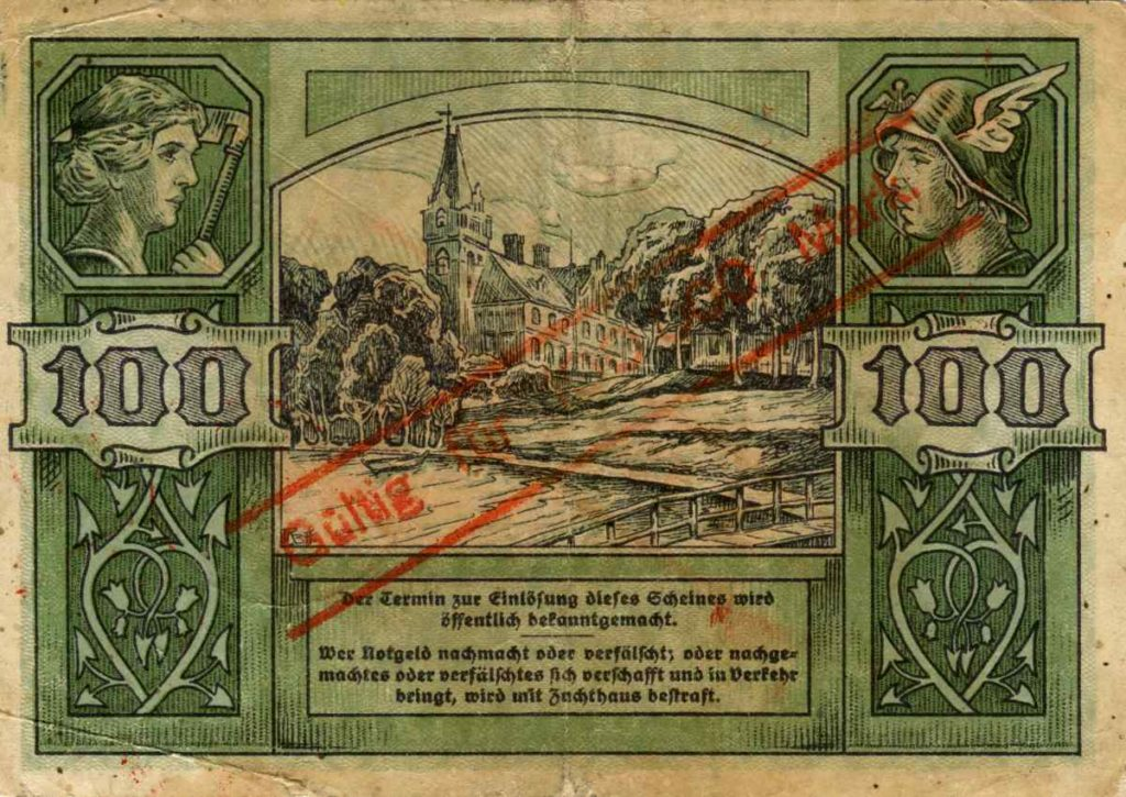 Rewers banknotu o nominale 100 000 marek. Ze zbiorów Zdzisława Bereśniewicza.