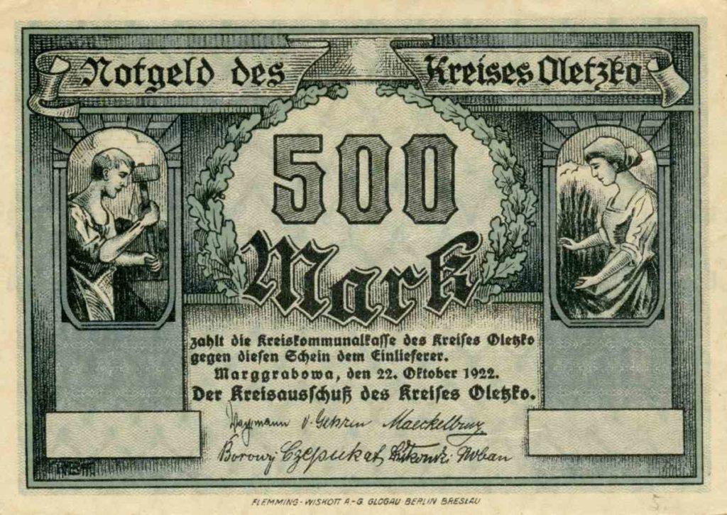 Awers banknotu o nominale 500 marek. Ze zbiorów Zdzisława Bereśniewicza.