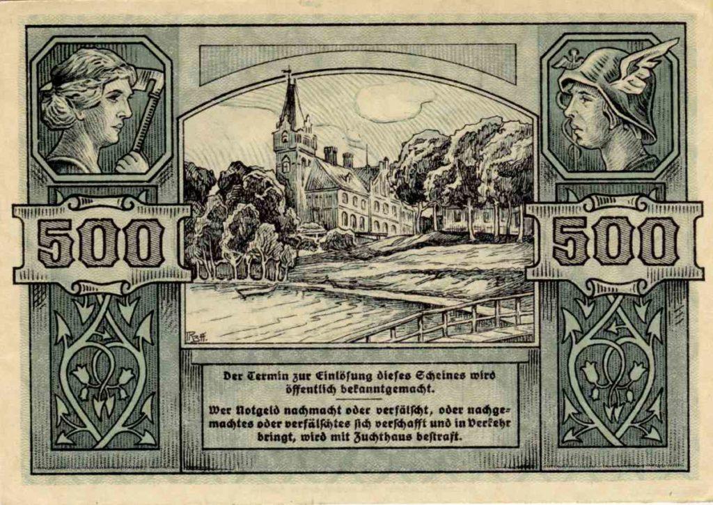 Rewers banknotu o nominale 500 marek. Ze zbiorów Zdzisława Bereśniewicza.