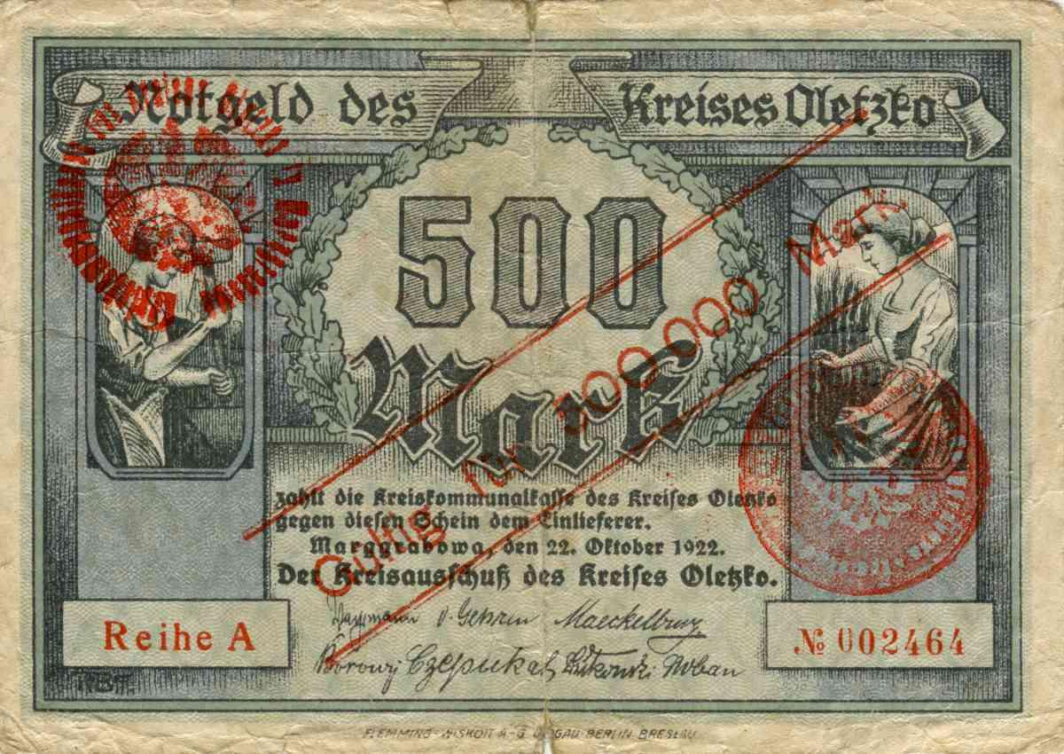 Awers banknotu o nominale 500 000 marek. Ze zbiorów Zdzisława Bereśniewicza.