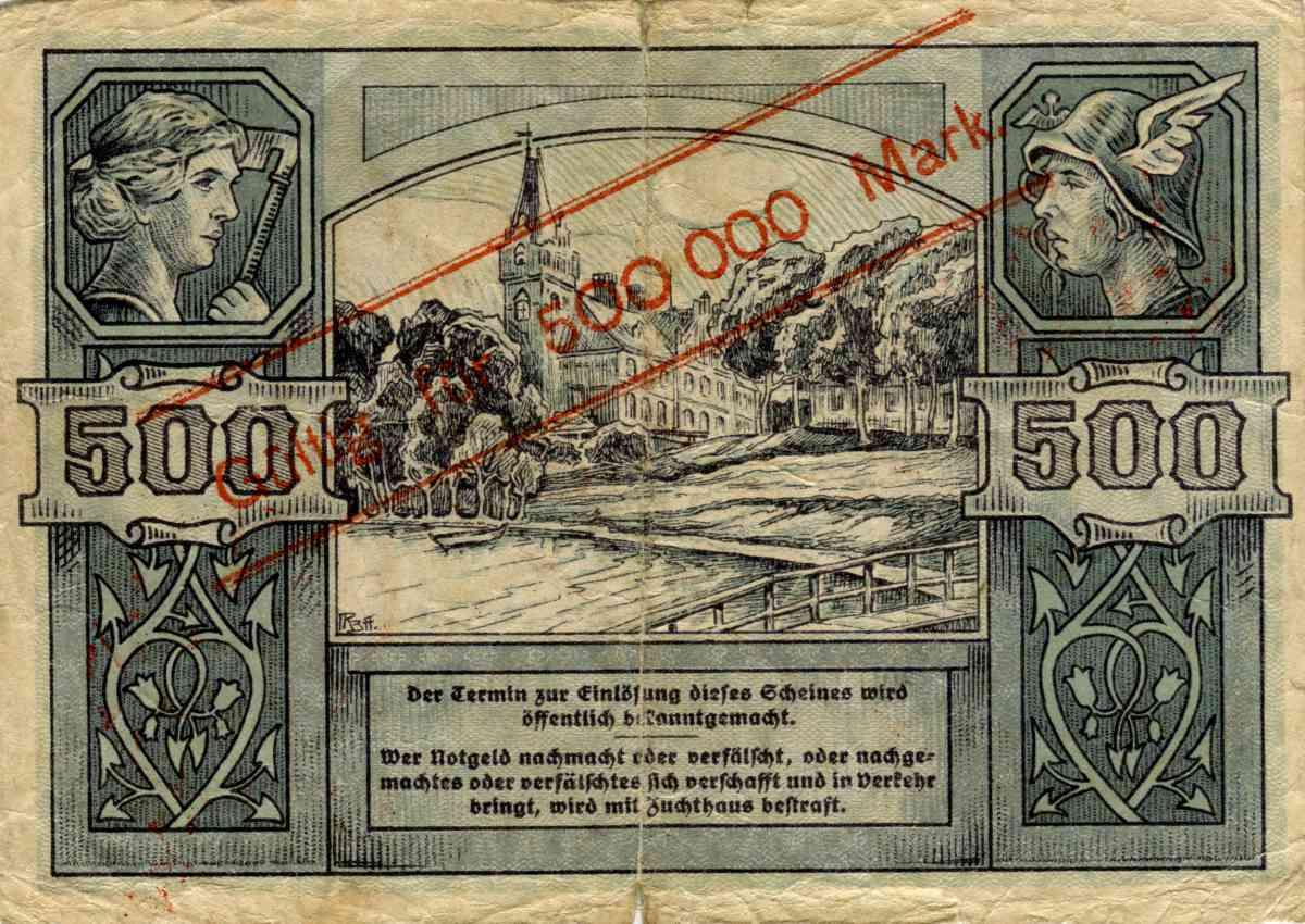 Rewers banknotu o nominale 500 000 marek. Ze zbiorów Zdzisława Bereśniewicza.