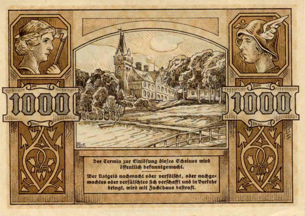 Rewers banknotu o nominale 1000 marek. Ze zbiorów Zdzisława Bereśniewicza.