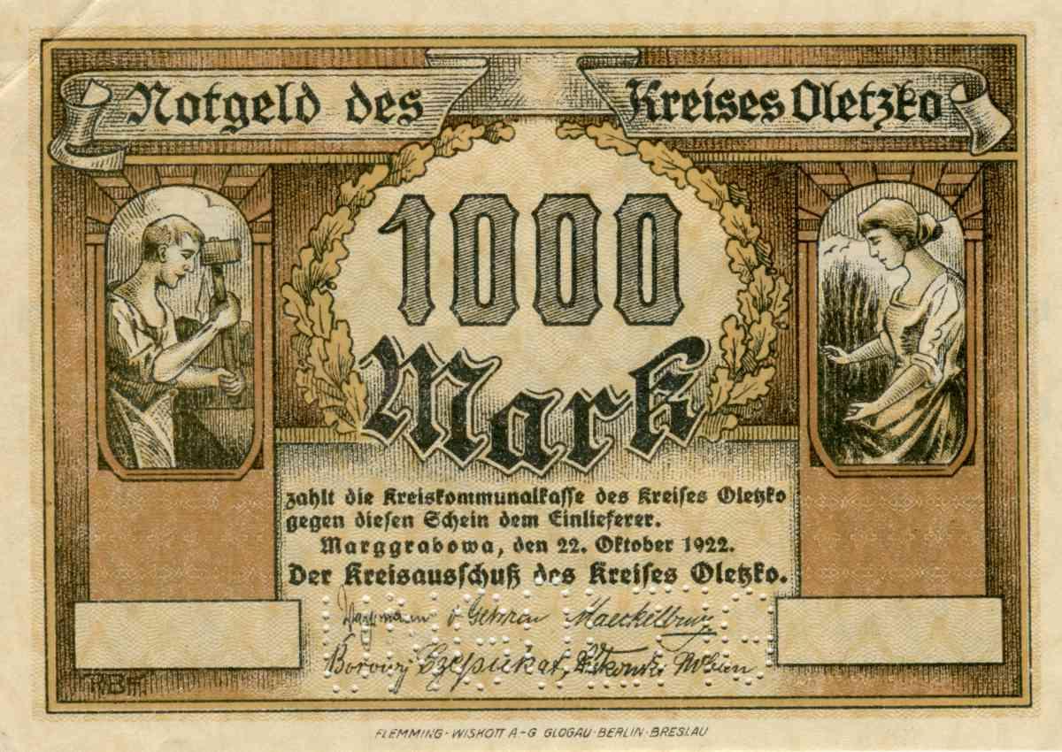 Awers próbnego banknotu o nominale 1000 marek. Ze zbiorów Zdzisława Bereśniewicza.