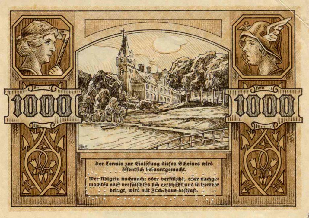 Rewers próbnego banknotu o nominale 1000 marek. Ze zbiorów Zdzisława Bereśniewicza.