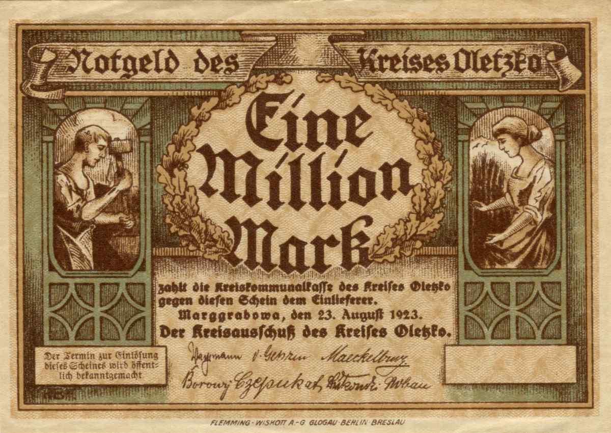Jednostronny banknot o nominale 1 milion marek. Ze zbiorów Zdzisława Bereśniewicza.