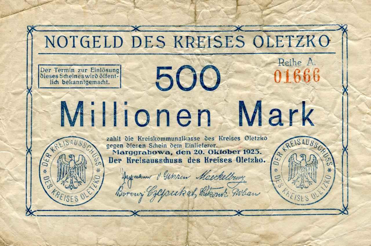 Jednostronny banknot o nominale 500 milionów marek. Ze zbiorów Zdzisława Bereśniewicza.