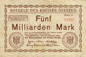 Jednostronny banknot o nominale 5 miliardów marek. Ze zbiorów Zdzisława Bereśniewicza.