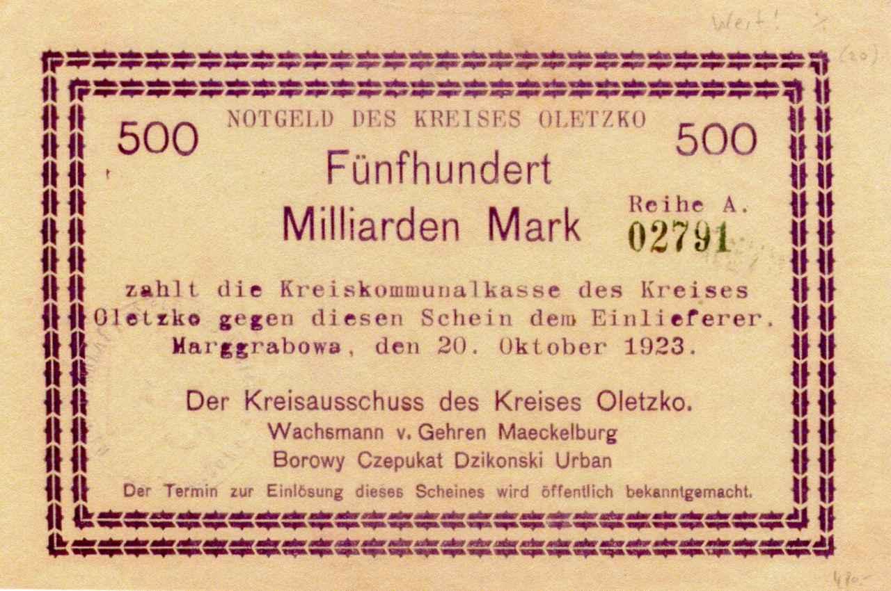 Jednostronny banknot o nominale 500 miliardów marek. Ze zbiorów Zdzisława Bereśniewicza.