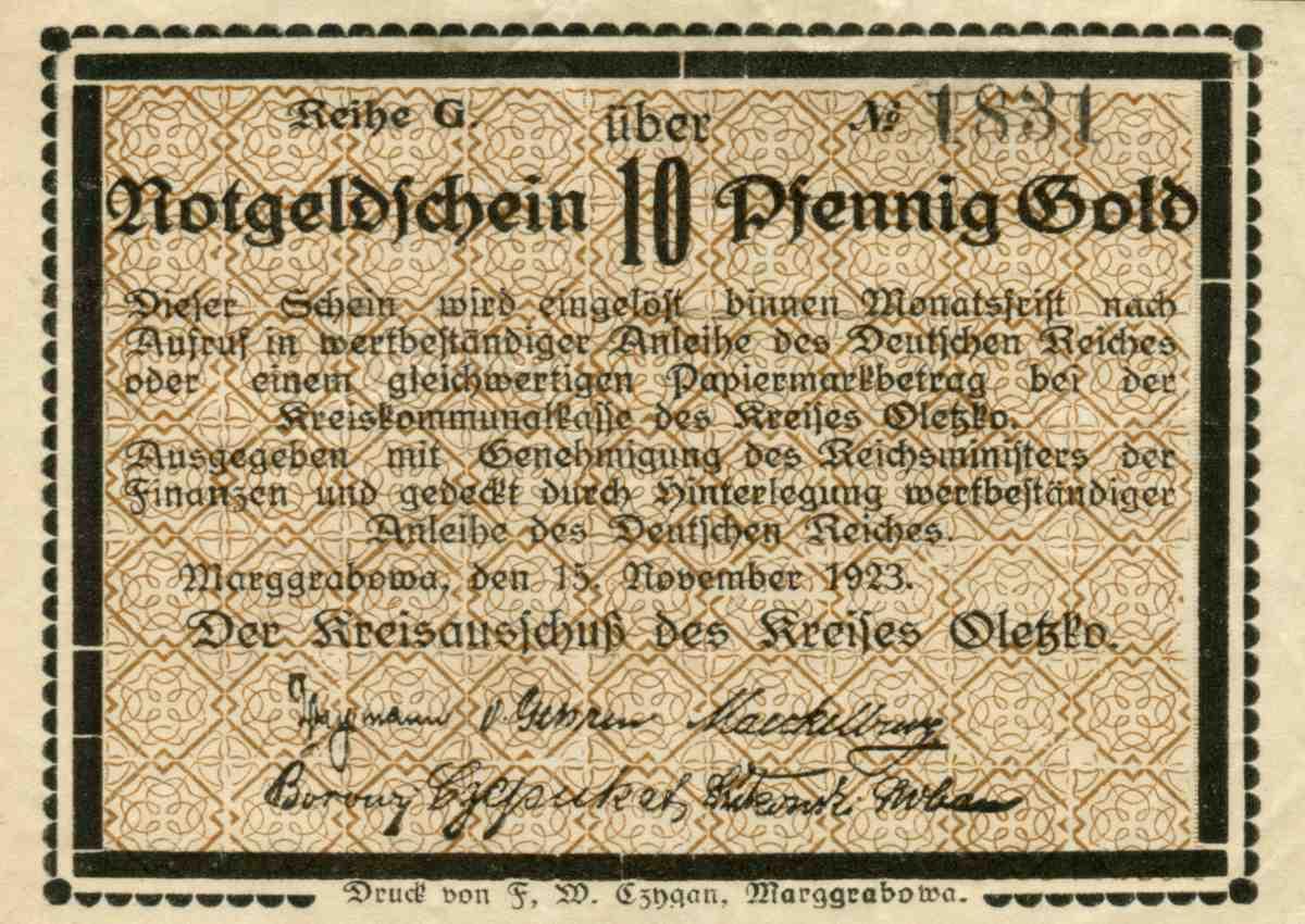 Jednostronny banknot o nominale 10 fenigów. Ze zbiorów Zdzisława Bereśniewicza.
