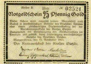 Jednostronny banknot o nominale 25 fenigów. Ze zbiorów Zdzisława Bereśniewicza.