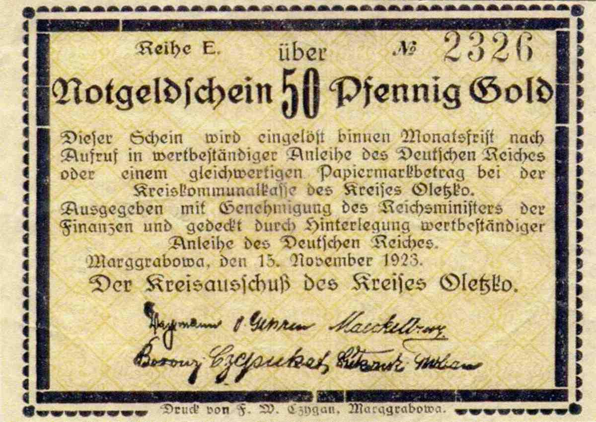 Jednostronny banknot o nominale 50 fenigów. Ze zbiorów Zdzisława Bereśniewicza.