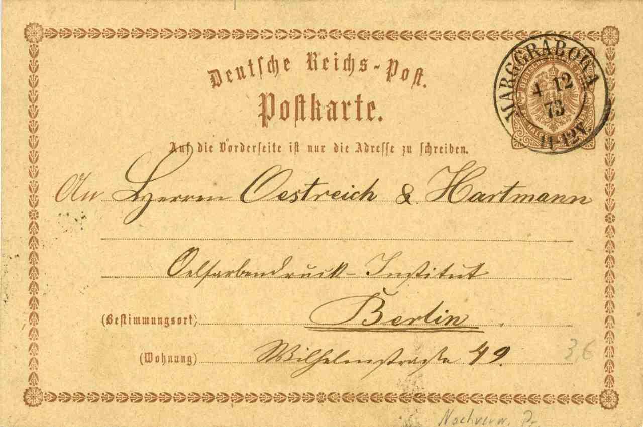 Pierwsza karta korespondencyjna II Rzeszy Niemieckiej.