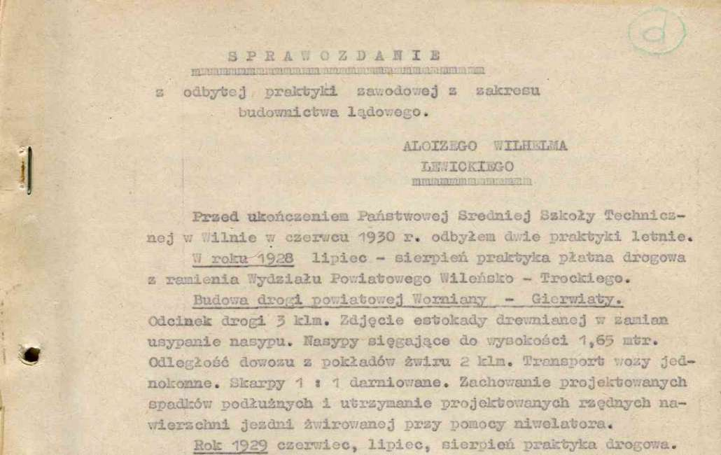 Fragment sprawozdania Alojzego Lewickiego.