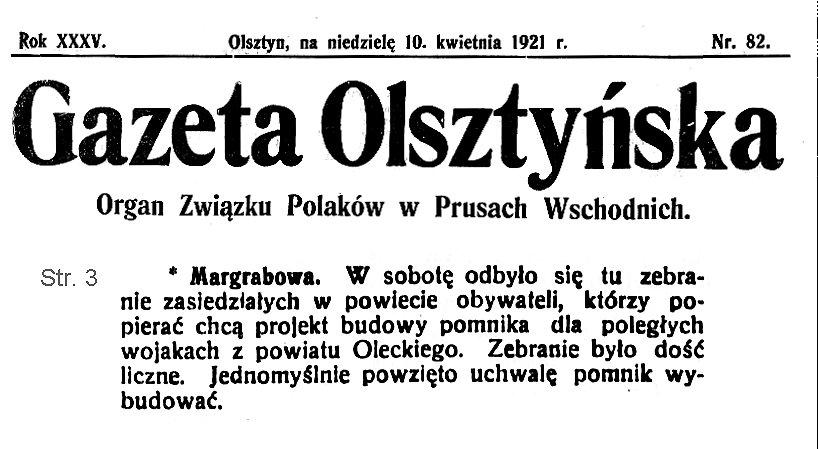 Gazeta Olsztyńska nr 82 z 1921 r.